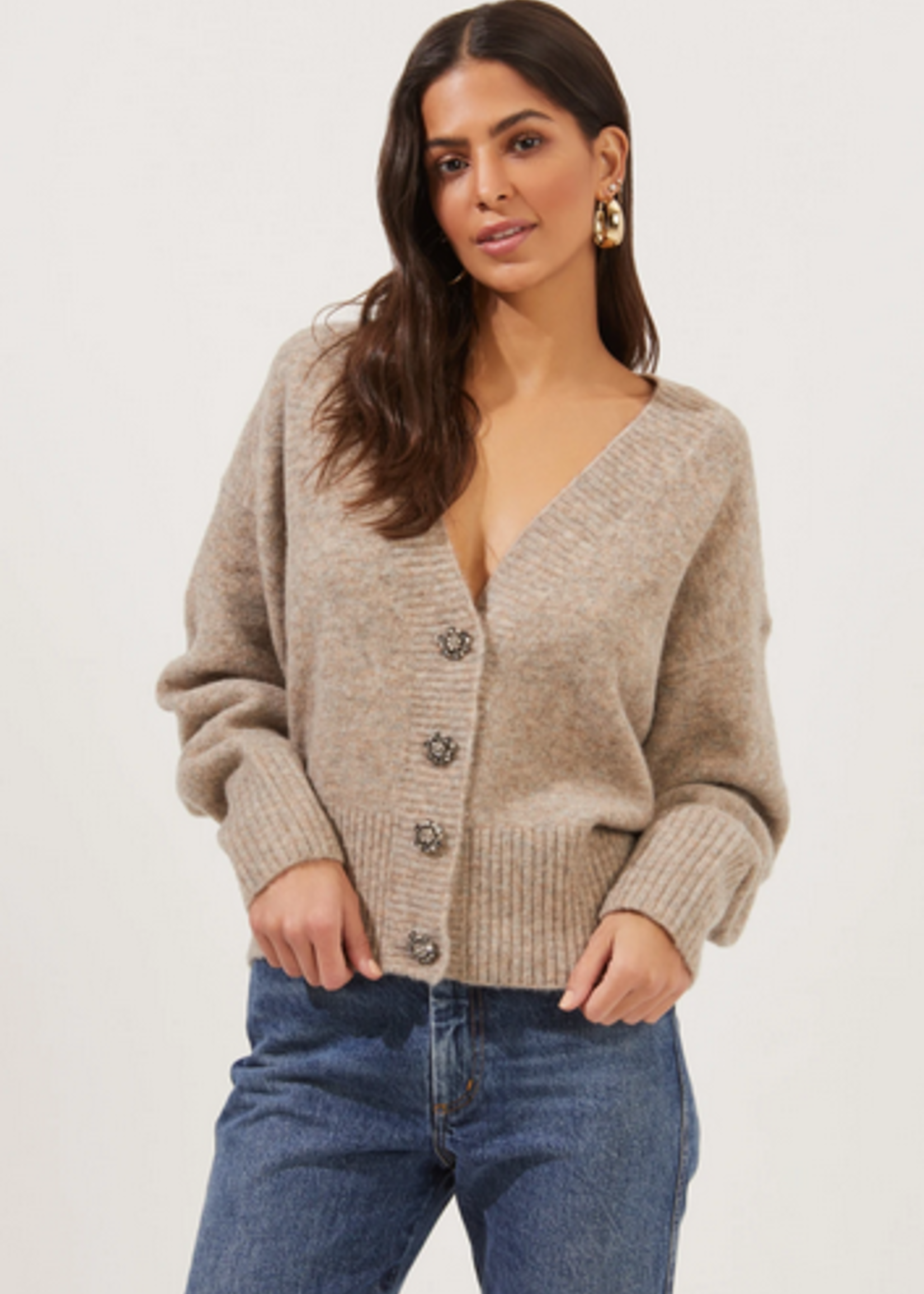 Elitaire Boutique Belmont Cardigan in Taupe