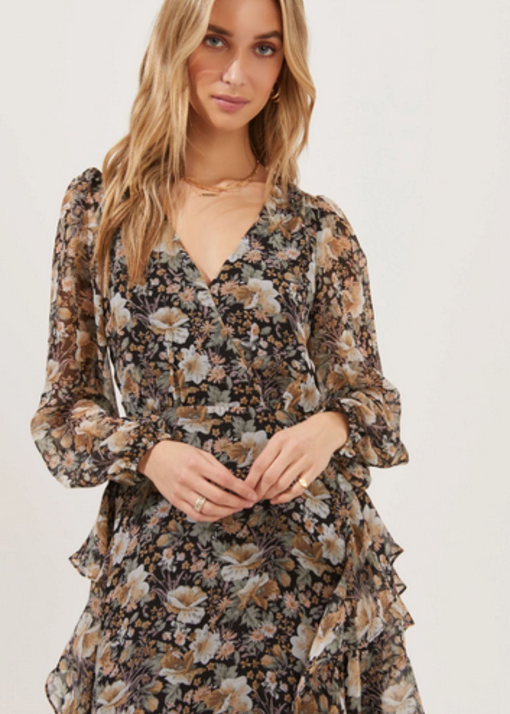 Elitaire Boutique Raleigh Dress in Black Multi Floral