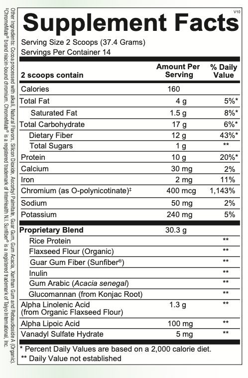 HPA-------------- Chocolate GLYCEMIC SUPPORT XR 485.8G (ORTHO MOLECULAR)