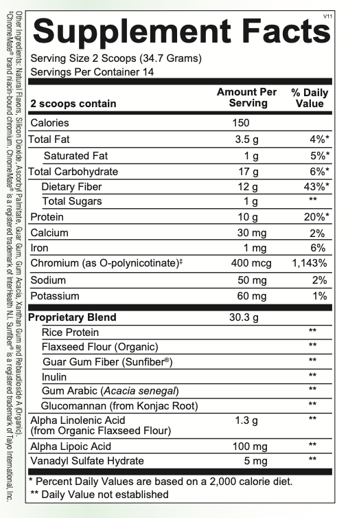 HPA-------------- Vanilla GLYCEMIC SUPPORT XR 485.8G (ORTHO MOLECULAR)