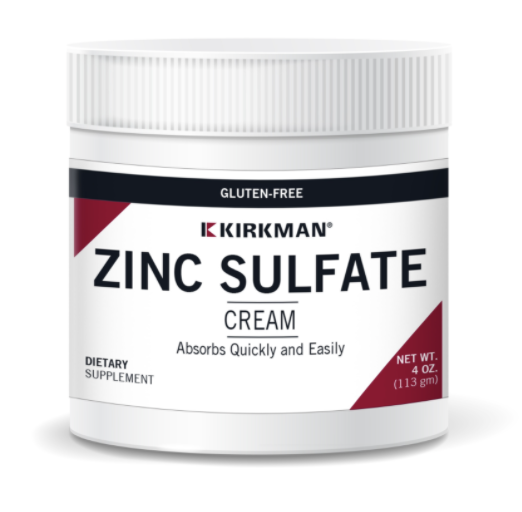 Biomed---------- ZINC SULFATE CREAM (KIRKMAN) (same as TOPICAL ZINC CREAM) Dosis: 1 gm = 1/4 tsp