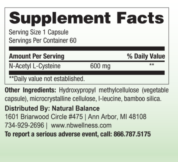 Basic------------- N-ACETYL-L-CYSTEINE (NAC) 60ct (NUMEDICA: REPLACEMENT)