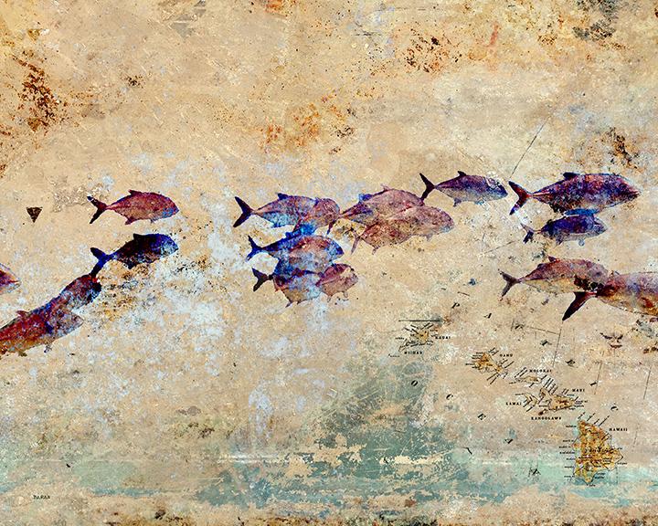 John Baran SCHOOLING FISH WITH MAP, 9X12 PRINT ON WOOD