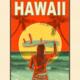 Aloha Posters SUNSET SURF  8X10 MATTED PRINT