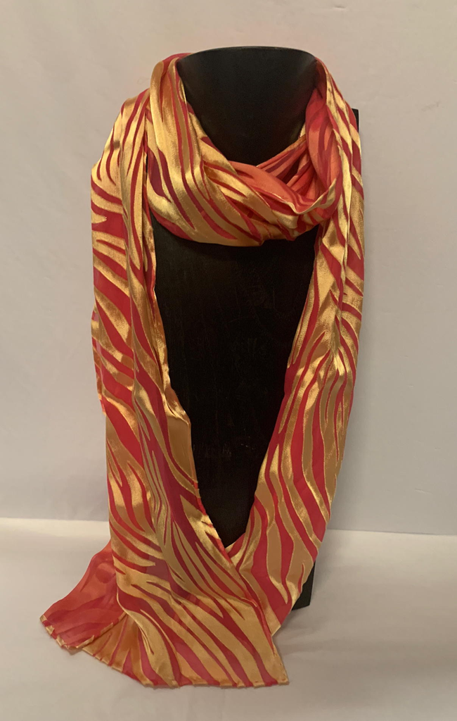 Hana Lima Hand Dyes Hand Dyed Scarf (no tassles) - Red/Gold