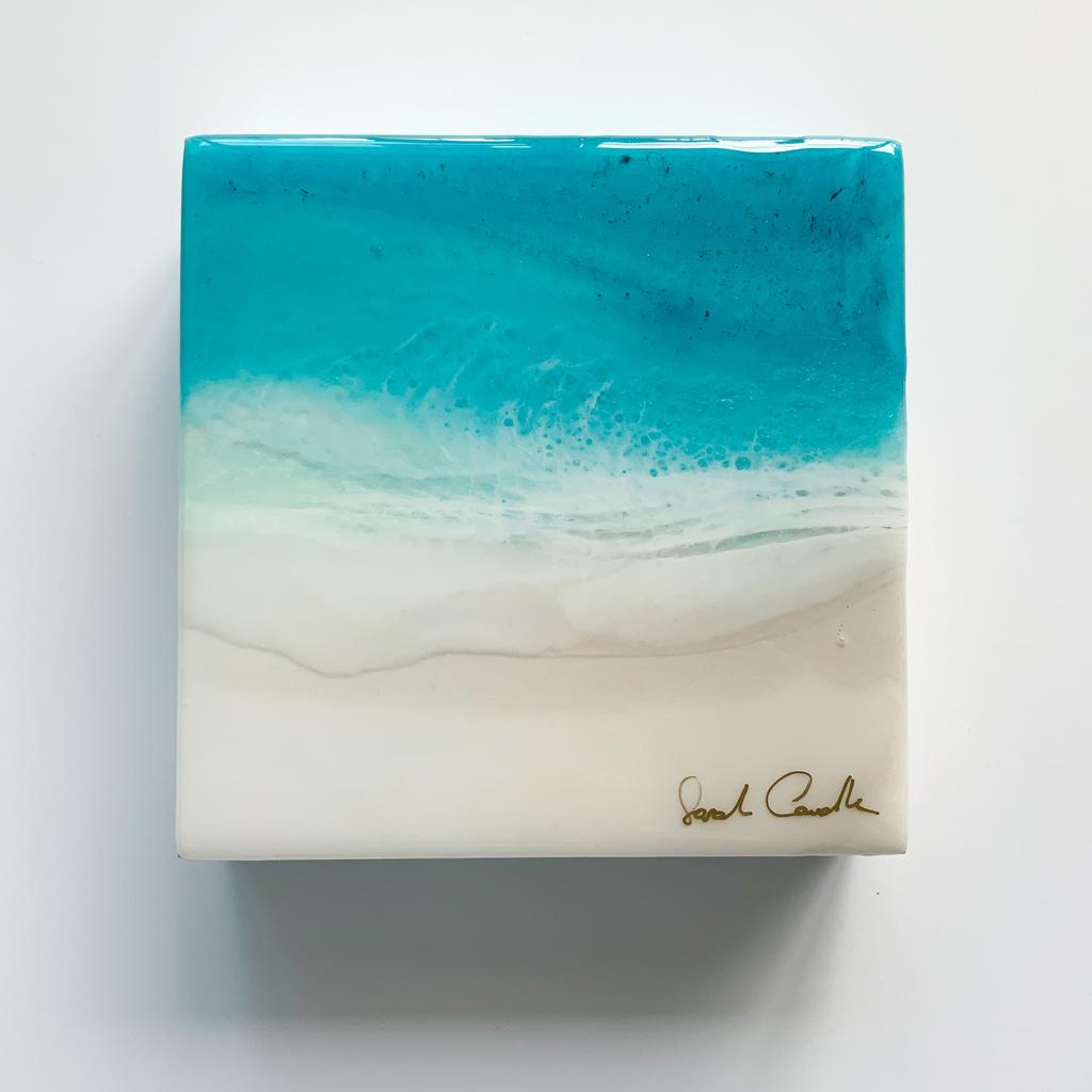 "Sarah Caudle ORIGINAL RESIN PAINTING - FEELING SALTY 4, 6""X6"" UNFRAMED"