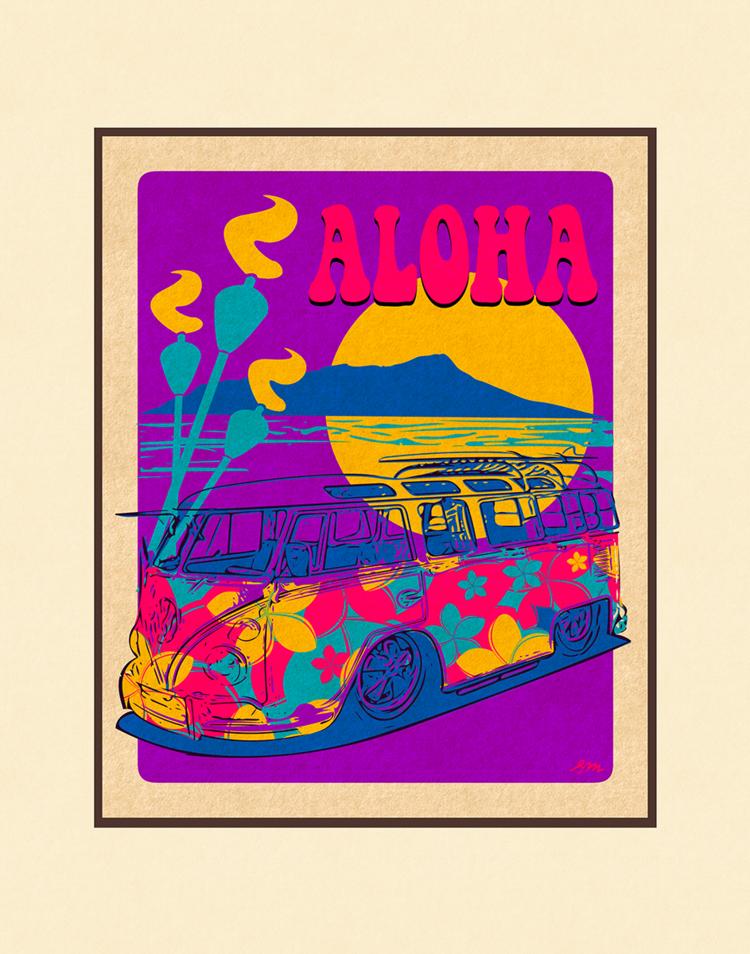 Aloha Posters WAIKIKI MOON  11X14 MATTED PRINT
