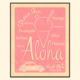 Aloha Posters ALOHA SHAVE ICE, PINK, 11X14 MATTED PRINT