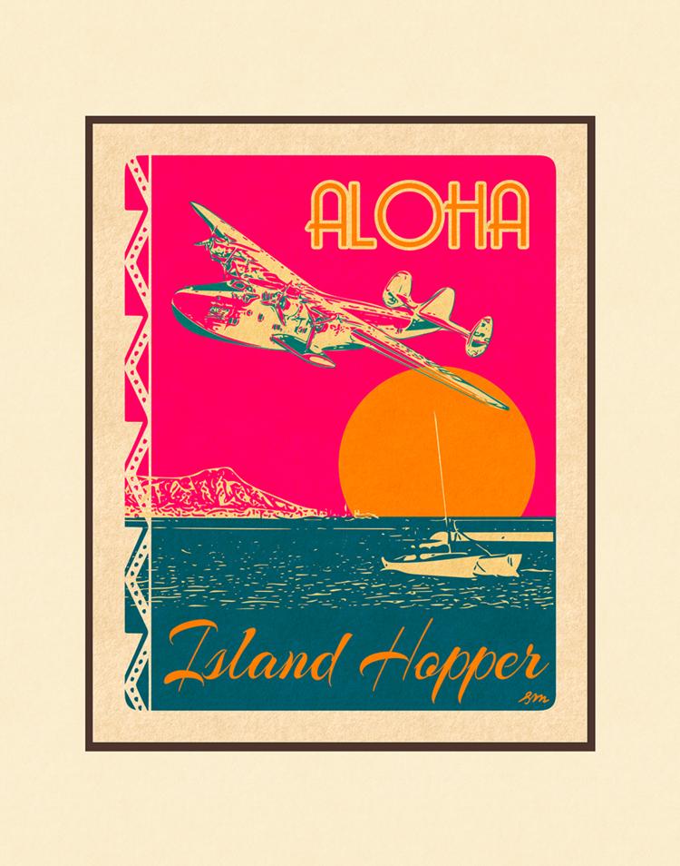 Aloha Posters ISLAND HOPPER, 11X14 MATTED PRINT