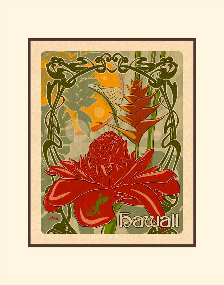 Aloha Posters TROPICAL HAWAII, 11X14 MATTED PRINT