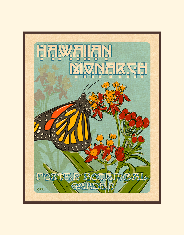 Aloha Posters HAWAIIAN MONARCH, 11X14 MATTED PRINT