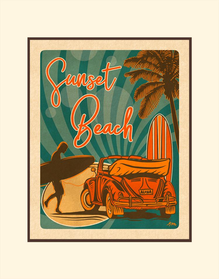 Aloha Posters SUNSET BEACH, 11X14 MATTED PRINT