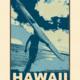 Aloha Posters HAWAII LONGBOARD, 11X14 MATTED PRINT