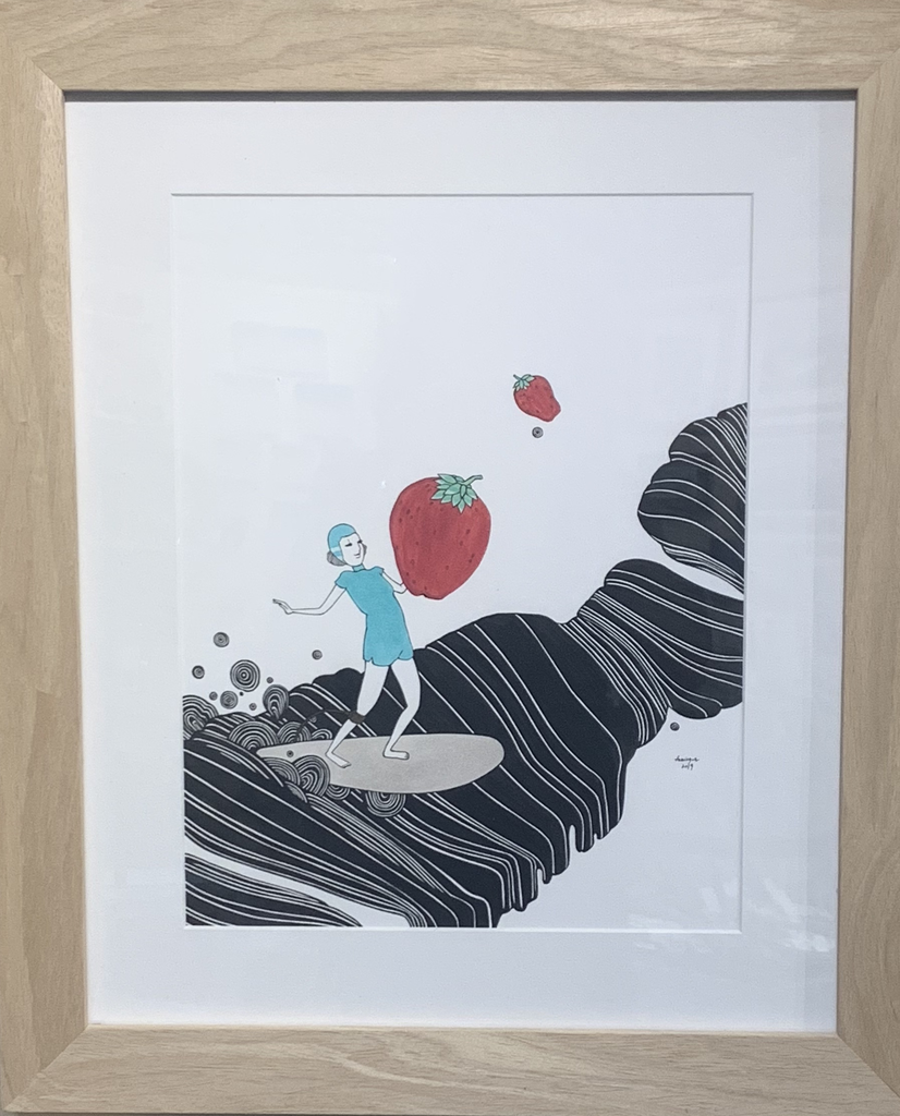 "Kris Goto ORIGINAL: ""STRAWBERRY SURPRISE!"",  16.5"" X 19.5"" FRAMED"