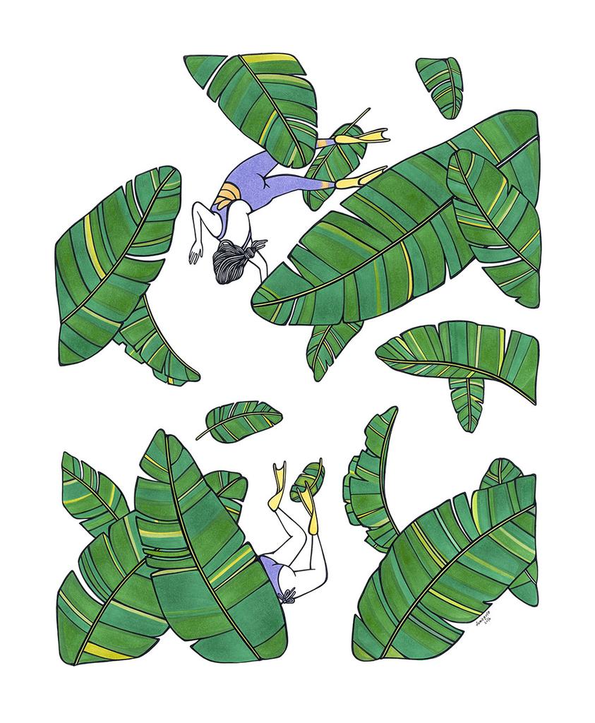 "Kris Goto Leafy, 11""x14"" Matted Art Print"