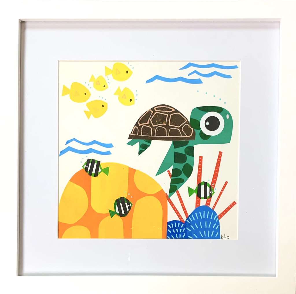 kto ART HONU SWIMMING - 8X8  ORIGINAL FRAMED COLLAGE