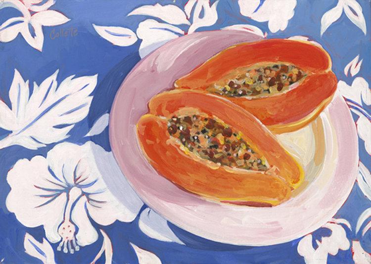 "Carol Collette Papaya on Pink Plate, 11""x14"" Matted Print"
