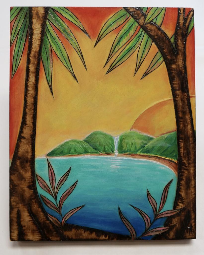 "AG37 Hawaii Creations WOODBURNED & HANDPAINTED WALL PLAQUE: MOUNTAIN SUN (APPROX. 8"" X 10"")"