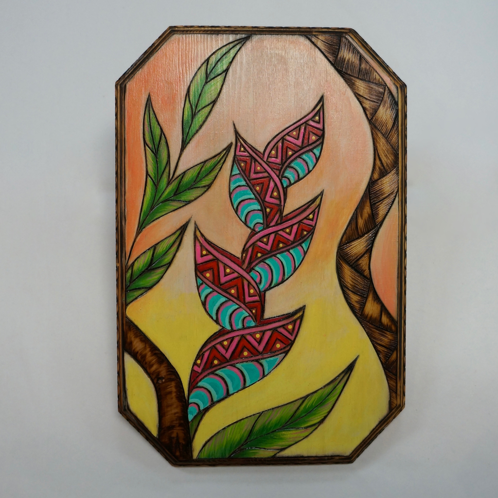 "AG37 Hawaii Creations WOODBURNED & HANDPAINTED WALL PLAQUE: HELICONIA (APPROX. 6.75"" X 10"")"