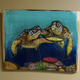"""Christian Bendo HONU LOVE (MONKEYPOD), HANDCARVED WOOD WALL PLAQUE - RESIN, HANDPAINTED (APPROX. 17""""X13"""")"""