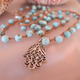 "MiNei Designs Necklace:22"" Turquoise Beads with Sterling Hamsa Pendant"