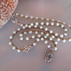 """MiNei Designs Necklace:22"""" Vintage Milkglass Beads with Sterling Artisan Pendant with Aquamarine"""