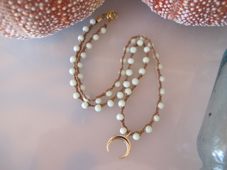 """MiNei Designs Necklace: 18"""" Vintage Milkglass Beads with Gold Crescent Horn"""