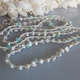 "MiNei Designs #2309  40"" Grey Freshwater Pearls and Peruvian Opals on White Silk Necklace or Wrap Bracelet"