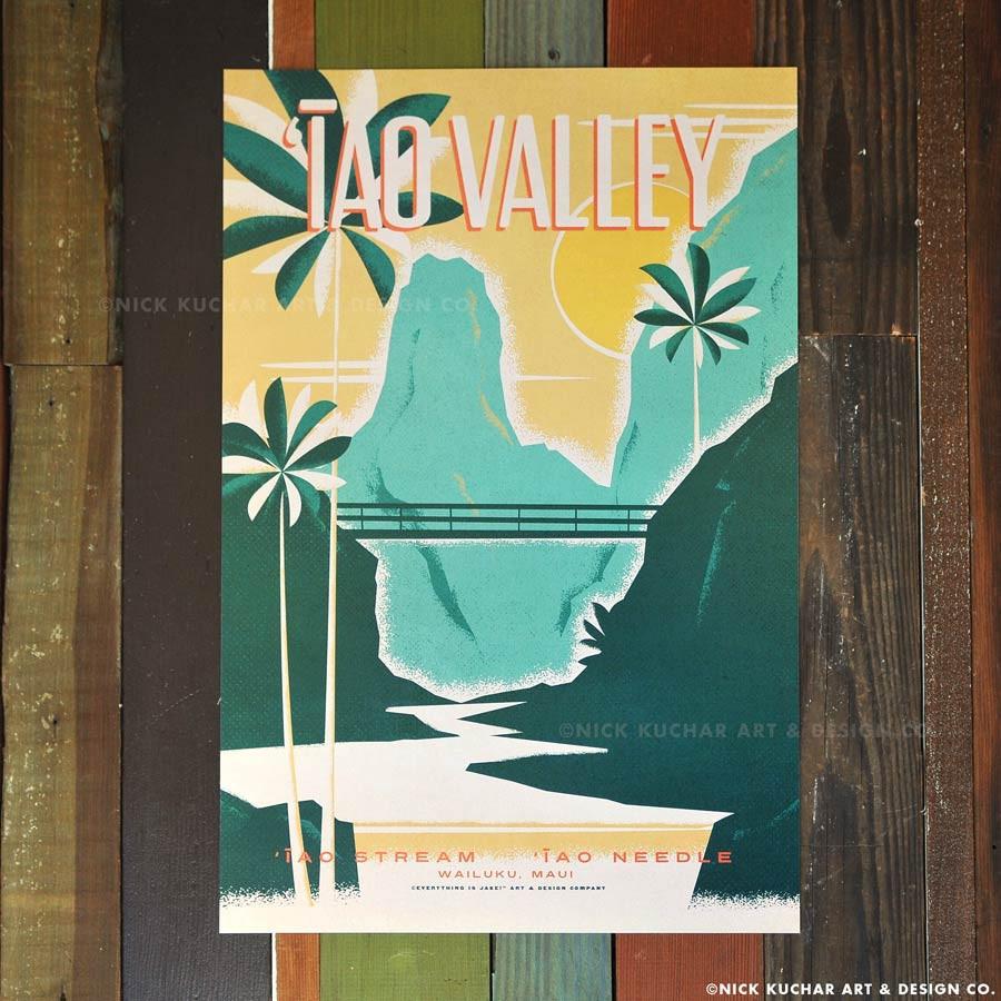 Nick Kuchar 12X18 RETRO TRAVEL PRINT: IAO VALLEY