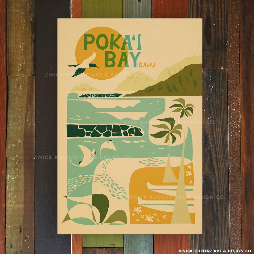Nick Kuchar 12X18 RETRO TRAVEL PRINT: POKAI BAY