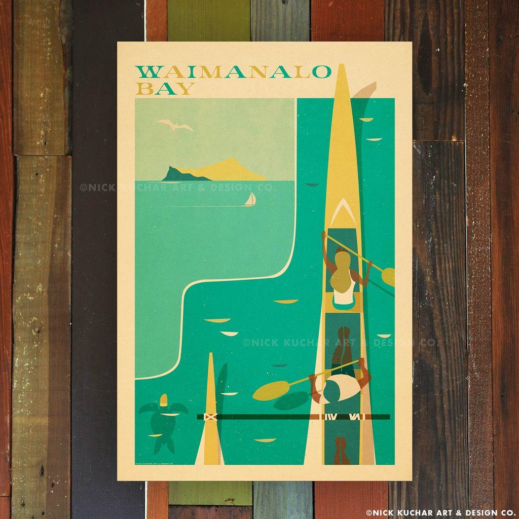 Nick Kuchar 12X18 RETRO TRAVEL PRINT: WAIMANALO BAY