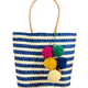 Shebobo Cabrillo Straw Beach Basket with PomPoms-Blue