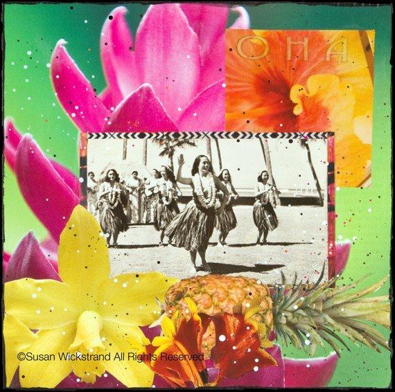 Susan Wickstrand 8X8 HAND-GLASSED ART: HAWAIIAN SONGS