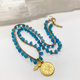 """MiNei Designs #2372 - 16"""" Apatite Beads with Gold Disc"""