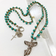 """MiNei Designs #2389 36"""" Double Wrap Turquoise Bead Necklace with Sterling Angel and Sterling Cross and Urchin Charms"""