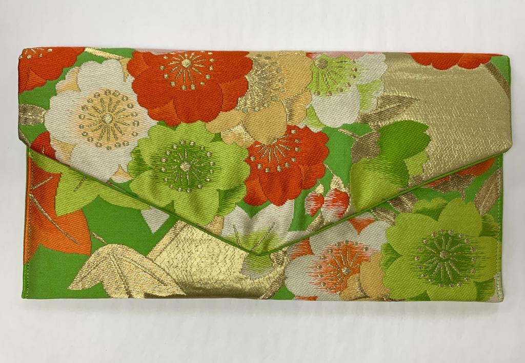 Leina Aonuma GREEN/ORANGE/GOLD FLOWERS ENVELOPE OBI CLUTCH