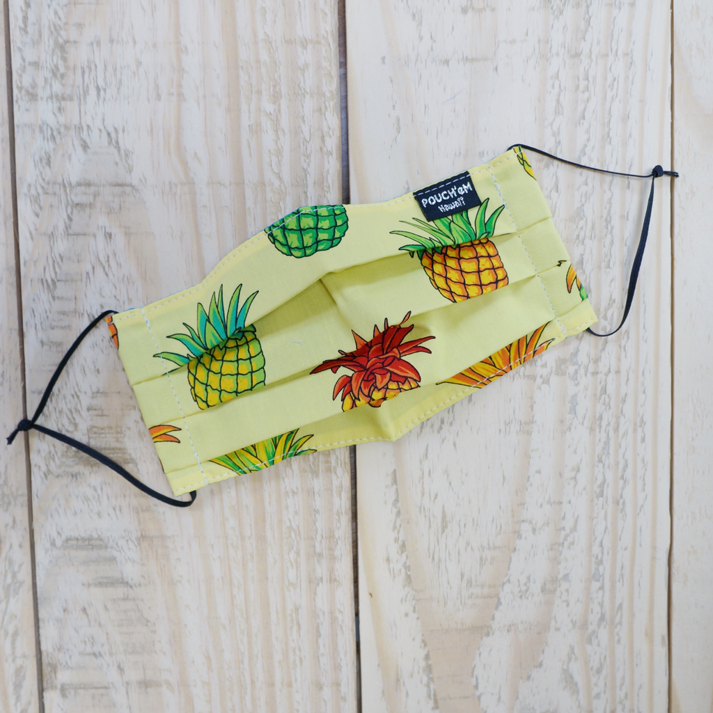 Pouch Em Hawaii HANDMADE FACE MASK: PINEAPPLES YELLOW