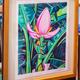 "Miriam Zora Engel PINK BANANA FLOWER, FRAMED ORIGINAL GOUACHE PAINTING, APPROX. 15.5"" X 18.75"" WITH FRAME"