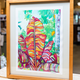 """Miriam Zora Engel VARIEGATED BANANA LEAVES, FRAMED ORIGINAL GOUACHE PAINTING,APPROX. 15.5"""" X 18.75"""" WITH FRAME"""
