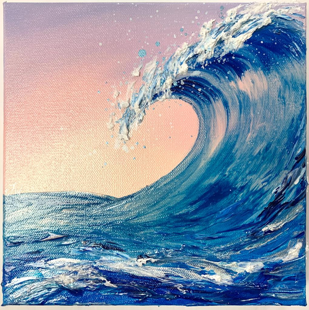 Jenna Wellein SUNRISE WAVE, 8 X 8 ORIGINAL ACRYLIC & GEL PAINTING WITH MICROPLASTICS - Magnolia Hawaii