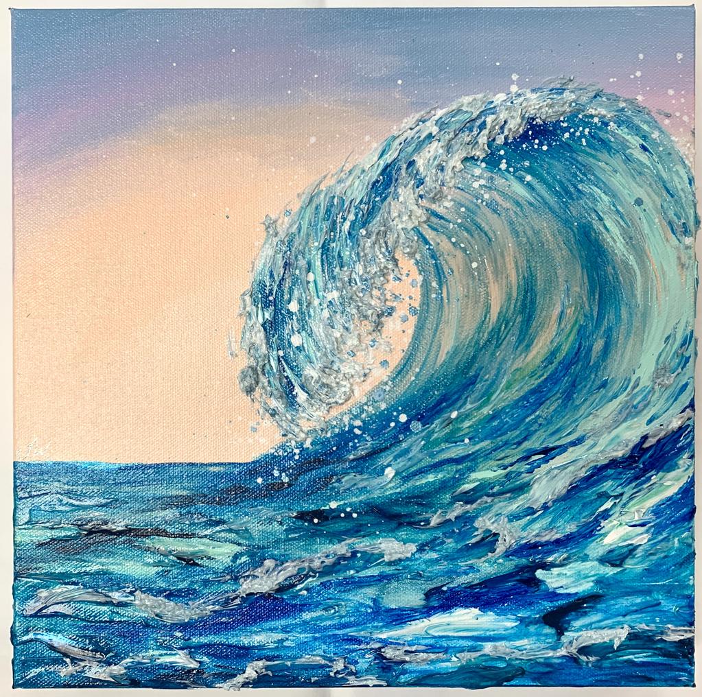 "Jenna Wellein SUNRISE WAVE, 12"" X 12"" ORIGINAL  ACRYLIC & GEL PAINTING WITH MICROPLASTICS"