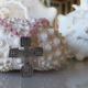 """MiNei Designs 18"""" Pink Glass Beads with Sterling Artisan Cross"""