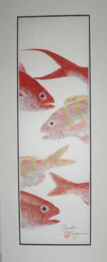 Brandon Tengan BOTTOM FISH TRIO - GYOTAKU PRINT - 7X17