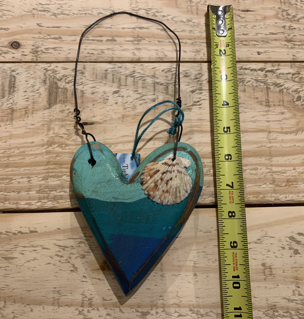 Nadia Fairlamb PAINTED BLUE WOODEN HEART WITH SHELL AND HANGER