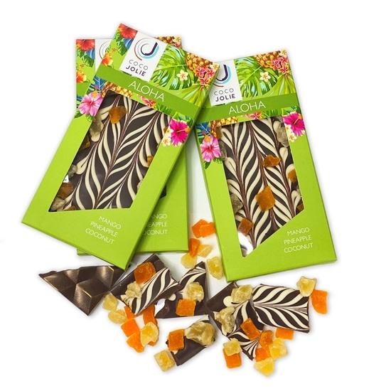 Coco Jolie Fine Chocolates & Confections ALOHA CHOCOLATE BAR: MANGO PINEAPPLE COCONUT