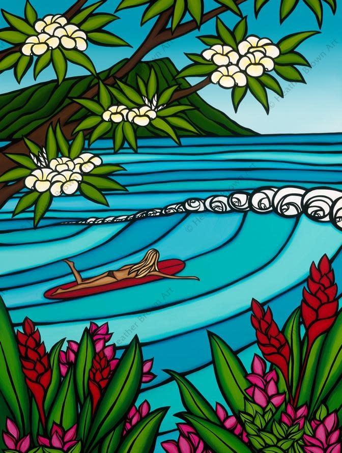 Heather Brown Waikiki Surf Girl, 8x10 OE, Matted Sugarcane Fine Art Print (S)
