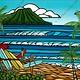 Heather Brown Waikiki Holiday, 8x10 OE, Matted Sugarcane Fine Art Print (S)