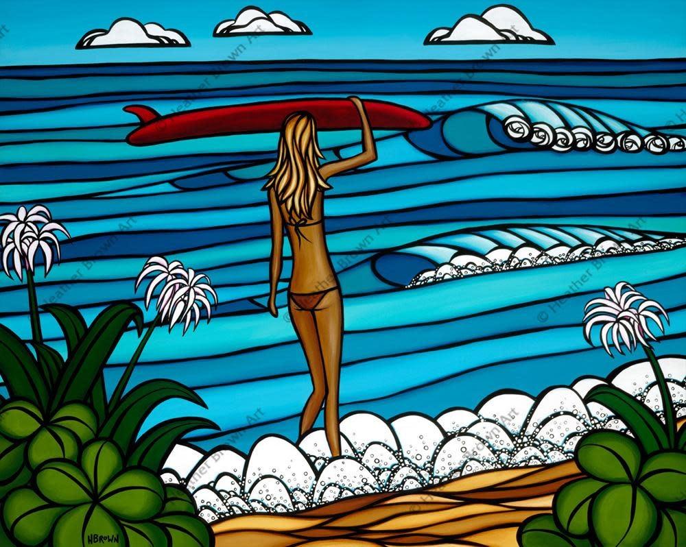 Heather Brown Surf Stroll, 8x10 OE, Matted Sugarcane Fine Art Print (S)