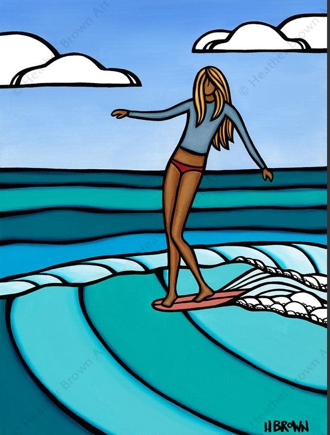 Heather Brown Summer Surf Girl, 11x14 OE, Matted Sugarcane Fine Art Print (M)
