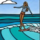 Heather Brown Summer Surf Girl, 8x10 OE, Matted Sugarcane Fine Art Print (S)
